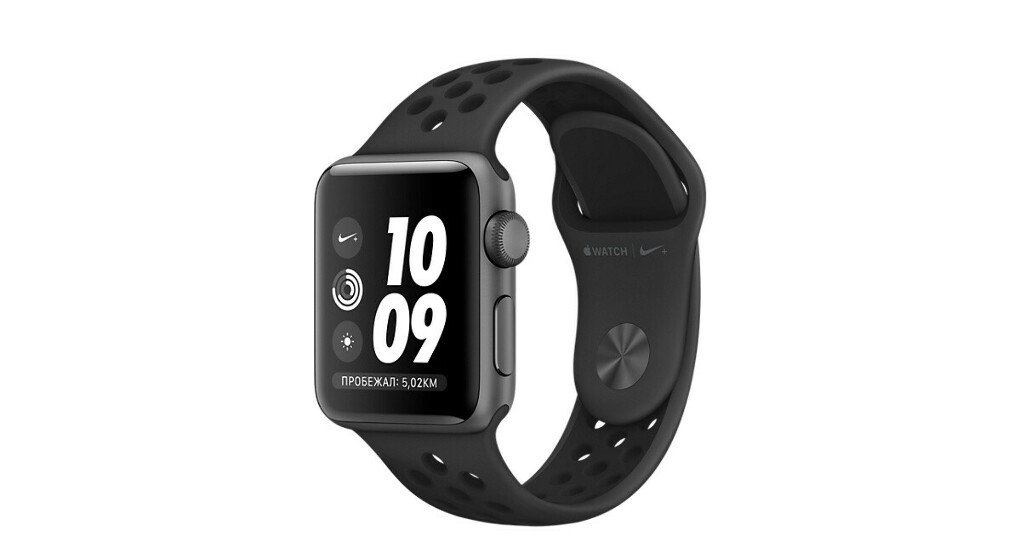 AppleWatch Nike+ GPS, корпус 38мм, алюминий цвета «серый космос», спортивный ремешок Nike цвета «антрацитовый/чёрный»