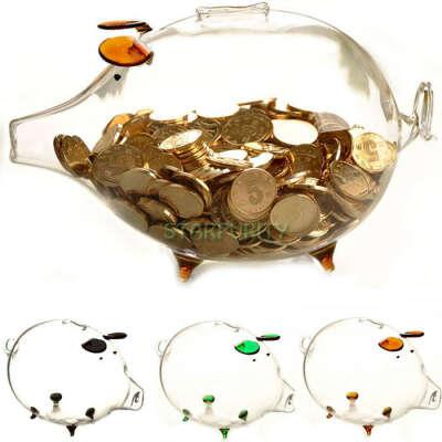 6 цветов! Прозрачного стекла эрекция свинья копилка деньги   монет сохранение Box милый день рождения новогодний подарок украшения купить на AliExpress