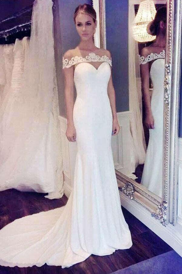Elegant Off the shoulder Mermaid Long Wedding Dress with Brush Train PFW0183
