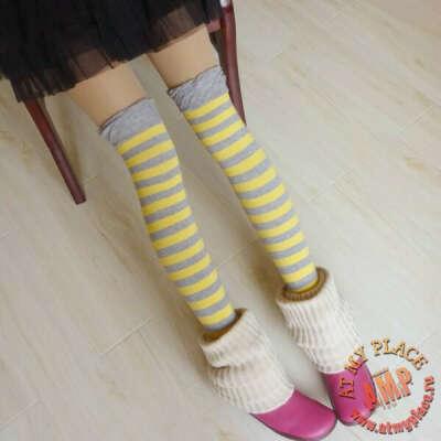 Серо-желтые полосатые гольфы