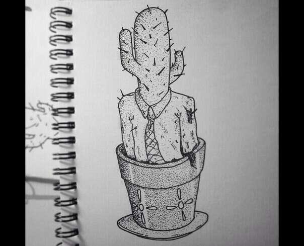 Татуировка кактуса в костюме