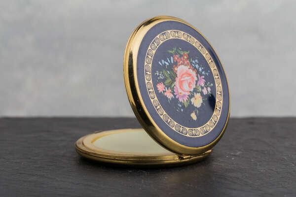 Vintage Compact Solid Perfume | Pink Flowers On Black