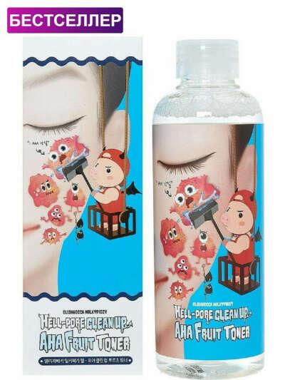Тоник-пилинг для лица на основе фруктовых кислот Hell Pore Clean Up Aha Fruit Toner, 200 мл., ELIZAVECCA