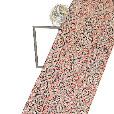 Brown Gajji Silk Ajrak Print Fabric