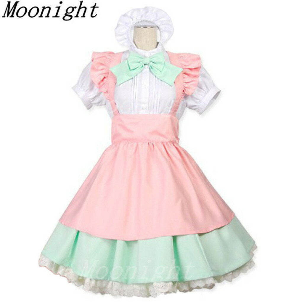 2016 New Free Shipping Sexy Maid Dress Maid pink apron skirt + green + green bow women's cosplay maid costume Cartoon Character купить на AliExpress