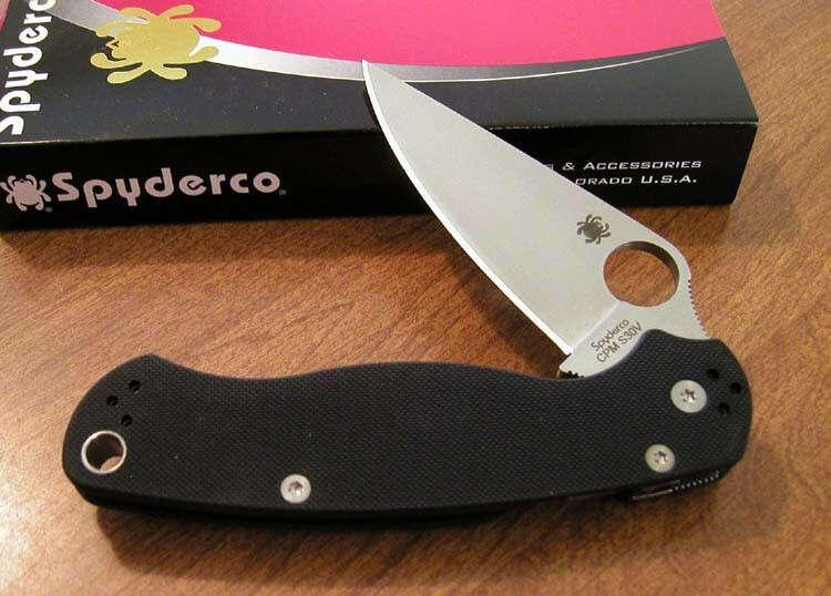 SPYDERCO New Black G-10 Handle Para Military 2 Plain Edge S30V Bld Knife/Knives