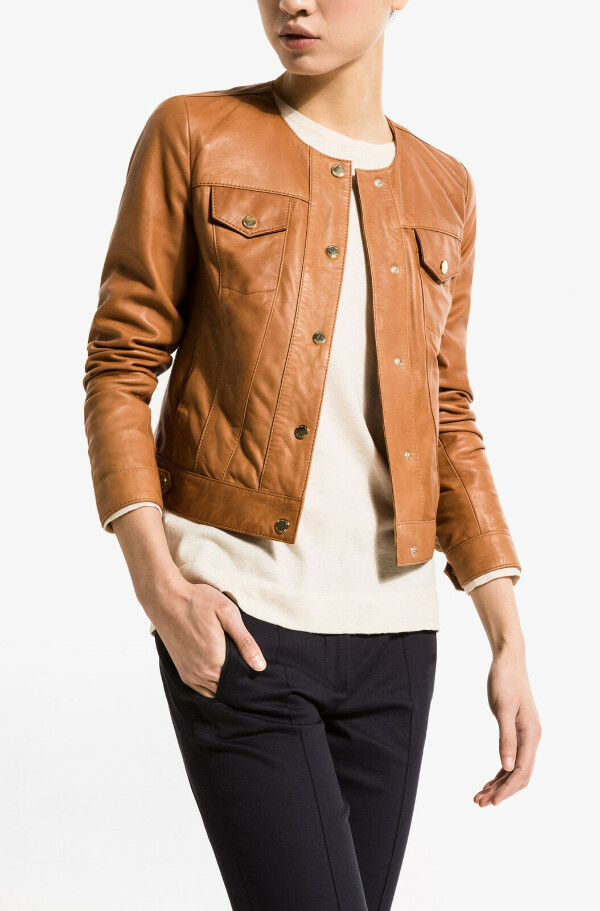 LEATHER JACKET WITH FASTENERS