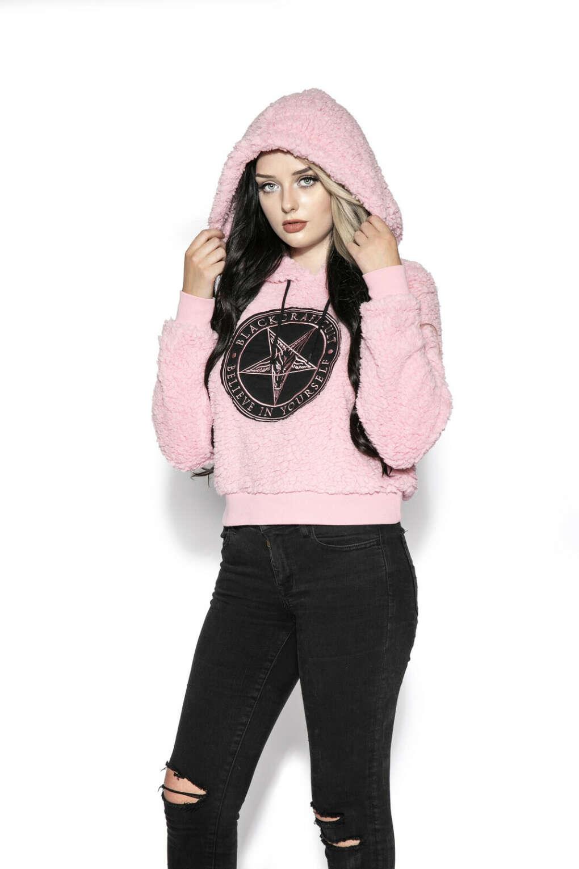 Believe In Yourself - Pink Women's Sherpa Hoodie