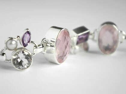 Браслет 'Gentle mini' серебряный с розовым кварцем