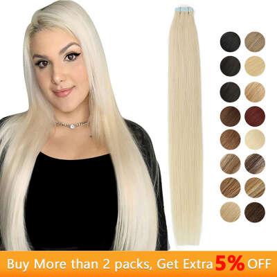 1234.34руб. 45% СКИДКА|MRSHAIR 6 # кожи уток человеческих волос прямой 20 штук ленты в расширение номера Волосы remy двухсторонней ленты для волос 16