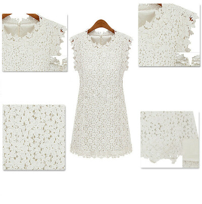 2013 European summer fashion woman lace mesh dress brand floral embroidery sexy white club party mini for women plus size xl-in Dresses from Apparel & Accessories on Aliexpress.com