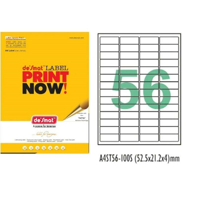 Desmat A4 Size 56 Labels Per Sheet Sticker for Laser, Inkjet and Copiers – Pack of 100