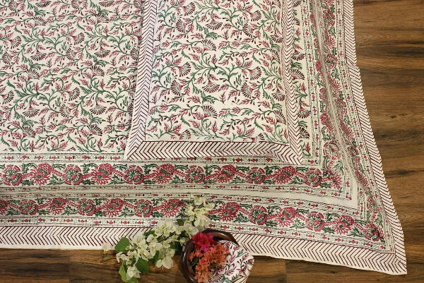 'Bagaan' Cotton Hand Block Print King Size Bedsheet