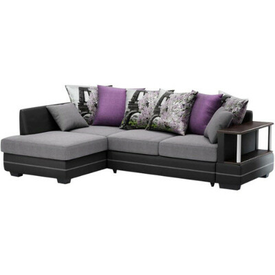 Угловой диван-кровать Сендай (ткань, иск. кожа), серый