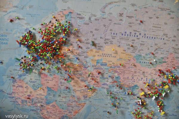 Большая карта мира+кнопки флажки