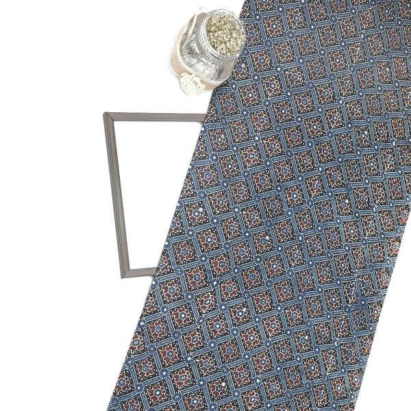 Indigo Gajji Silk Ajrak Print Fabric