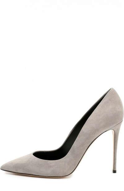 Женские светло-серые замшевые туфли на шпильке CASADEI