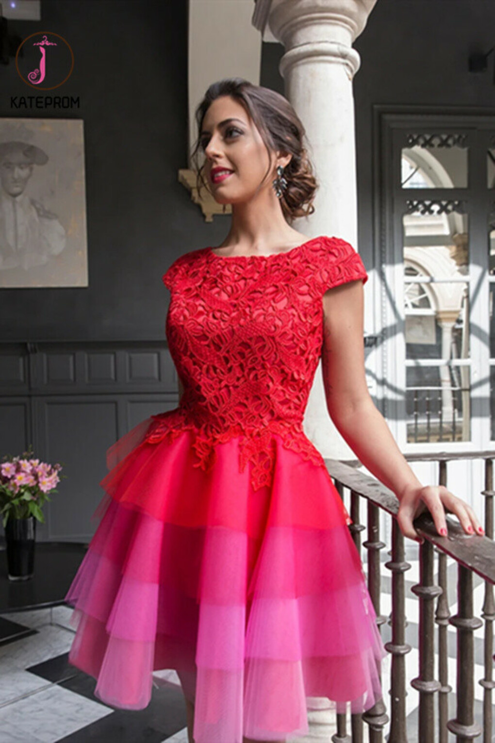 Kateprom Red A-line Scoop Homecoming Dress Tulle Short Prom Drsess KPP1334