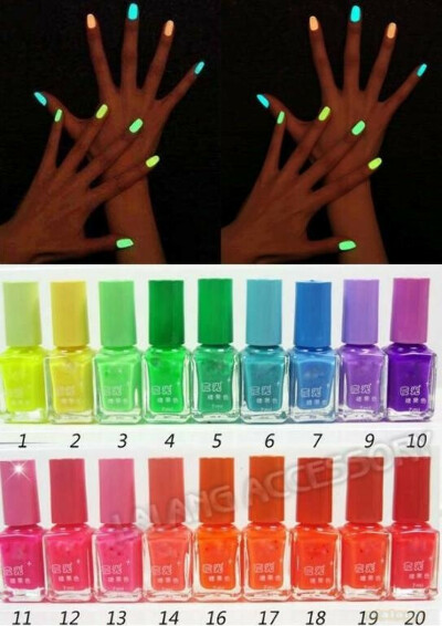 весь этот набор разноцветных лаков светящихся в темноте