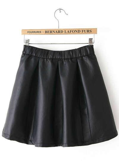 Черная кожаная юбка вспышки