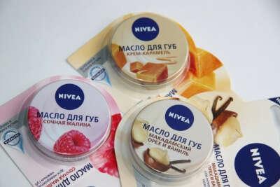 Нивея Масло для губ Крем-карамель и Сочная малина