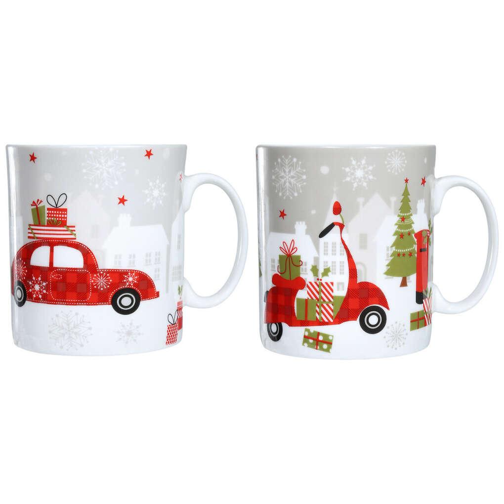 (S)(НГ)Кружка, 330 мл, 2 шт, фарфор, Машина с подарками, Christmas