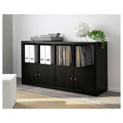 КАЛЛАКС Стеллаж, черно-коричневый, 77x147 см  - IKEA