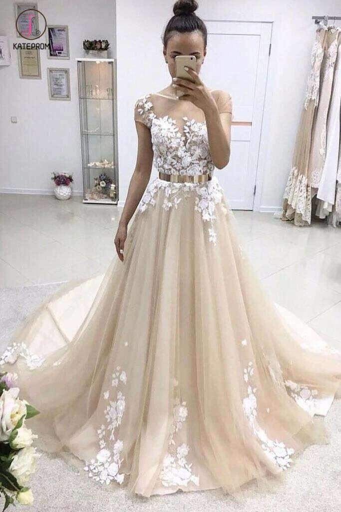 A-line Bateau Lace Appliqued Gold Sash Short Sleeves Wedding Dresses,Prom Dresses KPP0327