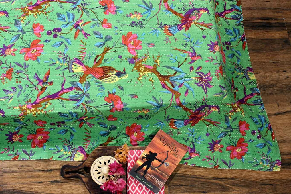 Walk in the Jungle Green Tropical Kantha Bedcover