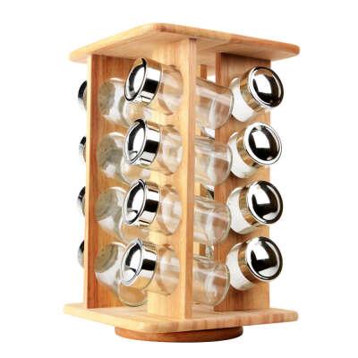 Деревянные револьверный специй с 16 шт. стеклянные банки кухня вращающихся ароматизатор хранения инструмента для специй соль перец сахар, принадлежащий категории Перечницы и солонки и относящийся к Для дома и сада на сайте AliExpress.com   Alibaba Group