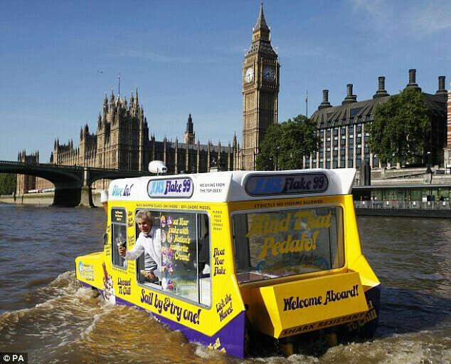 Ice-cream from floating van