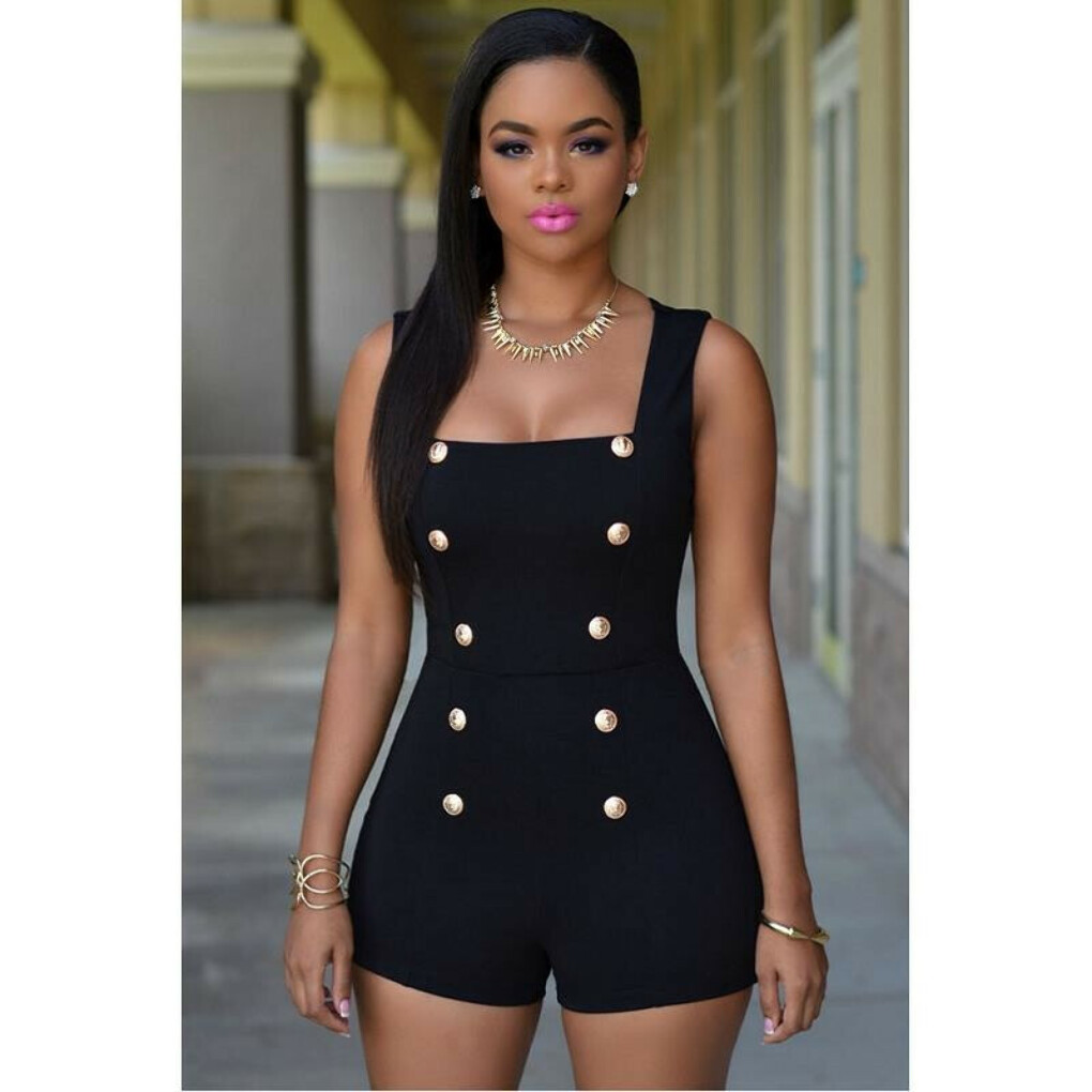 new fashion 2016 casual regular Gold Buttons rompers womens short jumpsuit sexy sleeveless zip one piece white bodysuits black купить на AliExpress