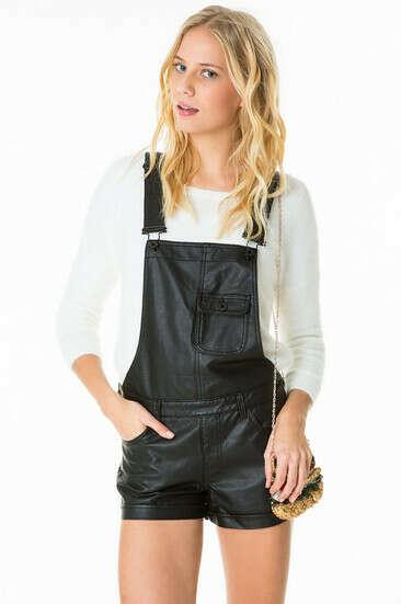 Black Leather-Like Short Dunagrees