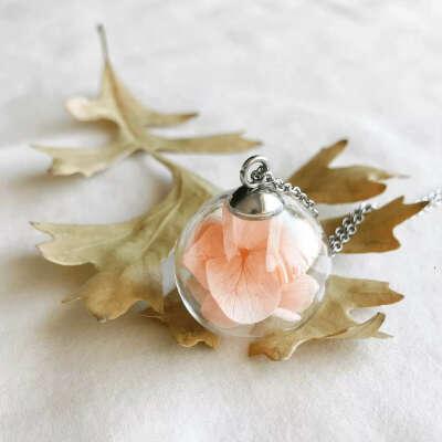 Кулон Glassbox Гортензия персиковая