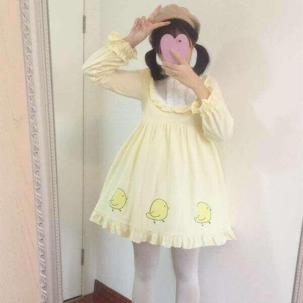 Yellow Baby Chick Falbala Lolita Dress SP179717