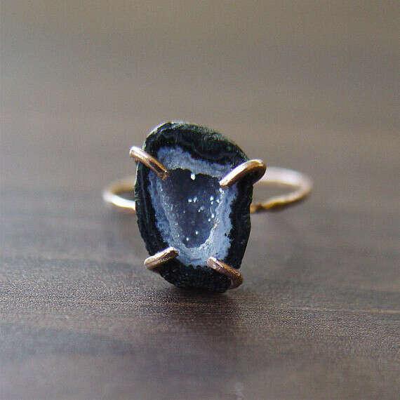 Black Druzy Ring