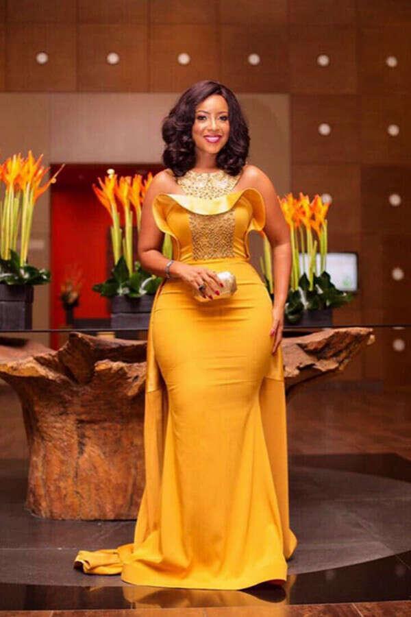 Kateprom Elegant Yellow Beaded Mermaid Evening Dresses, African Attire Dresses KPP1350