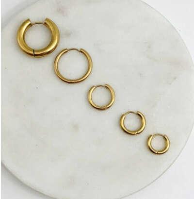 Серьги кольца 12 мм / gold tone /