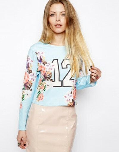 ASOS Floral Scuba Top with 12 Print