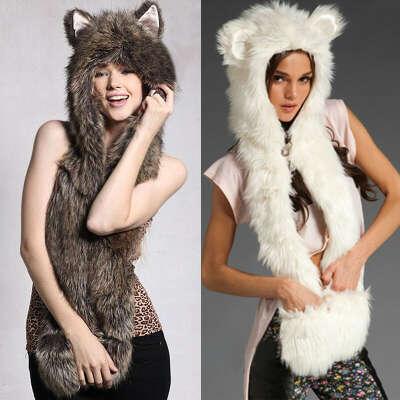 3 in 1 Women Cute Faux Fur Winter Warm Hat Cap Scarf Scarves Gloves Hand Warmer