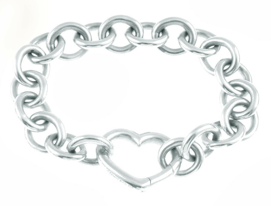 Tiffany & Co. Open Heart Silver Chain Link Bracelet