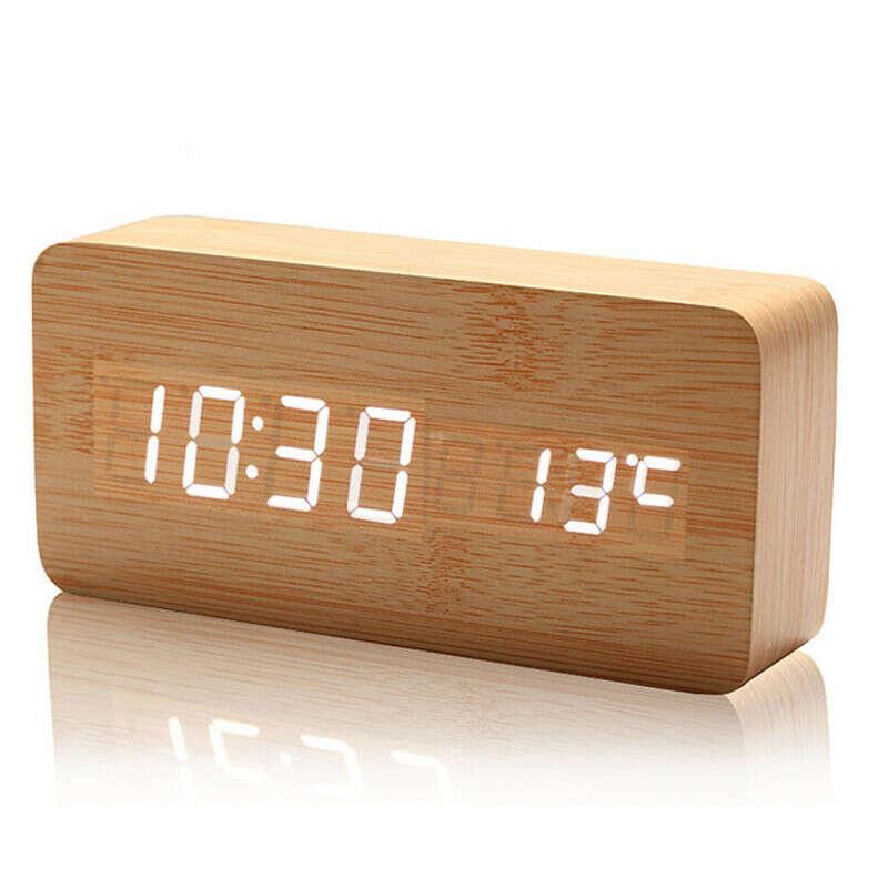 деревянный настольный будильник с термометром и LED-дисплеем