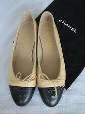 Authentic CHANEL CC Cap Toe Leather Ballet Flats Tan Beige Black 39.5 New
