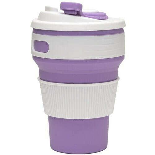 Складной эко-стакан для кофе, 350 мл, сиреневый