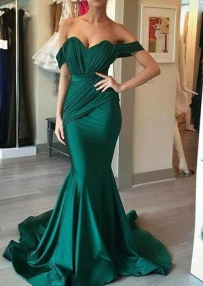 Off Shoulder Emerald Green Mermaid Long Evening Prom Dresses, 17703