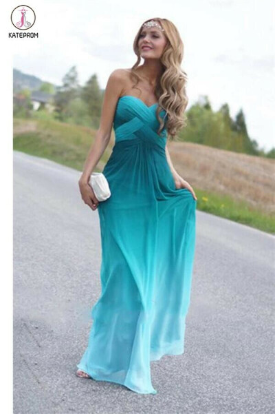 Real Beauty Peacock Green Gradient Ombre Chiffon Prom Dresses KPP0019