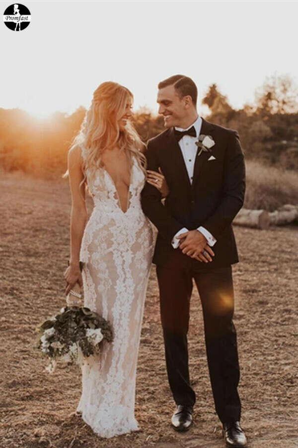 Promfast Cheap Mermaid Trumpet Attractive V neck Lace Wedding Dress PFW0538