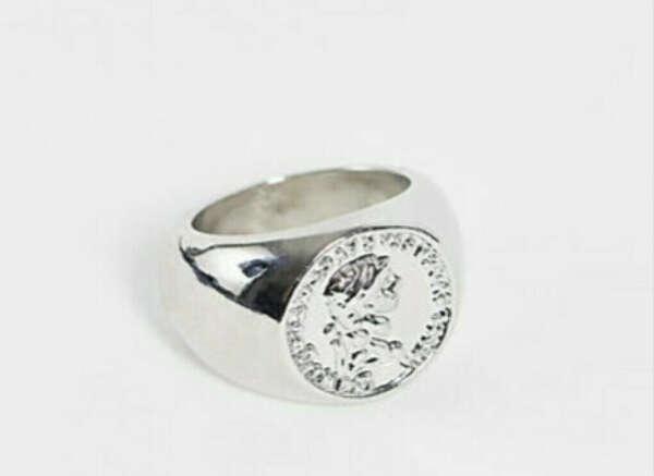 Серебристое кольцо с монеткой Reclaimed Vintage Inspired