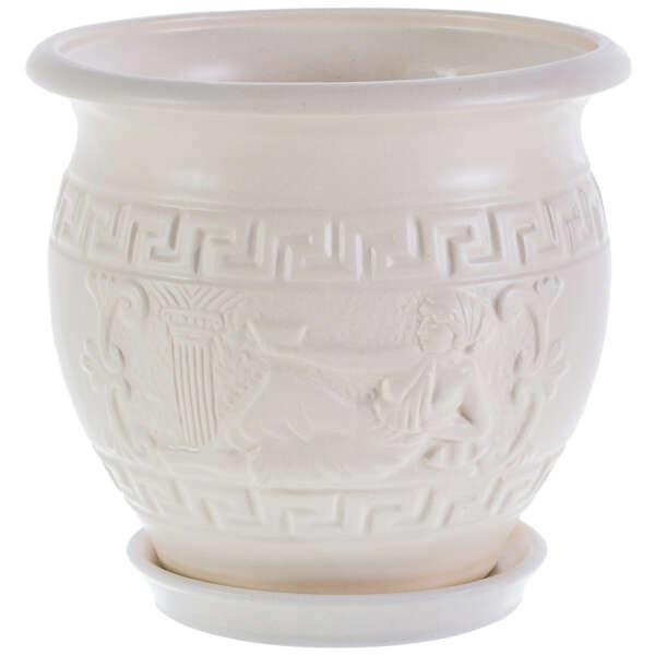 Горшок цветочный «Олимпия» D16, 1, 8л., керамика, Белый