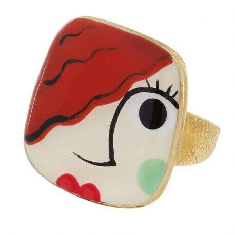 TARATATA | Купить Кольцо Face a face, золотистое с красочной смолой